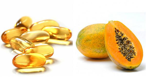 Làm mặt nạ từ đu đủ và vitamin E tạo độ ẩm cho da