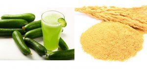 Bột cám gạo, dưa leo và chanh tươi giúp tẩy tế bào chết và mịn da